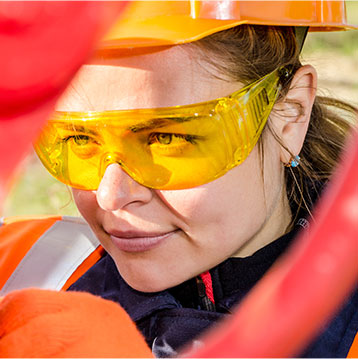 woman in protective glasses